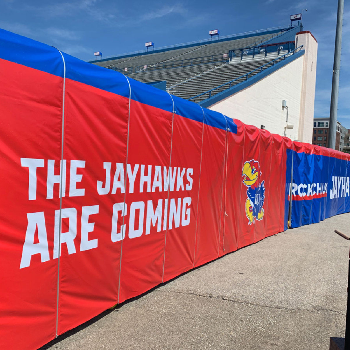 The Jayhawks Are Coming Banner sign